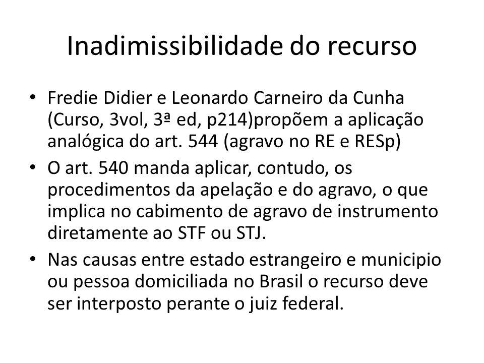 Inadimissibilidade do recurso Fredie Didier e Leonardo Carneiro da Cunha (Curso, 3vol, 3ª ed, p214)propõem a aplicação analógica do art. 544 (agravo n