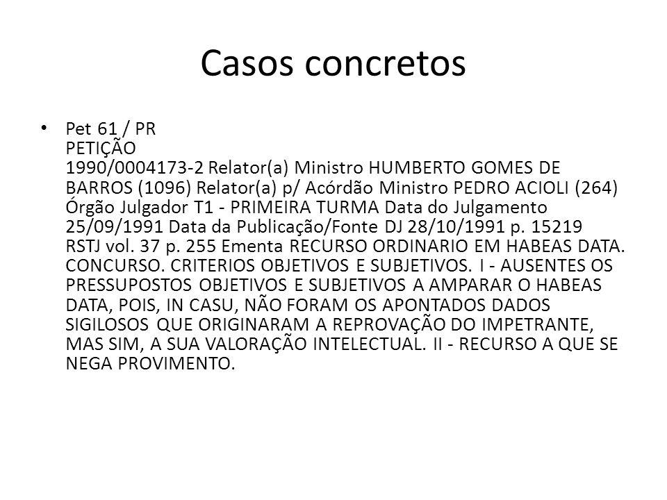 Casos concretos Pet 61 / PR PETIÇÃO 1990/0004173-2 Relator(a) Ministro HUMBERTO GOMES DE BARROS (1096) Relator(a) p/ Acórdão Ministro PEDRO ACIOLI (26