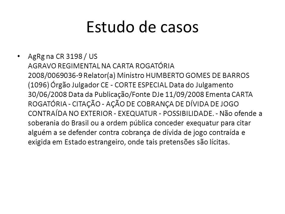 Estudo de casos AgRg na CR 3198 / US AGRAVO REGIMENTAL NA CARTA ROGATÓRIA 2008/0069036-9 Relator(a) Ministro HUMBERTO GOMES DE BARROS (1096) Órgão Jul