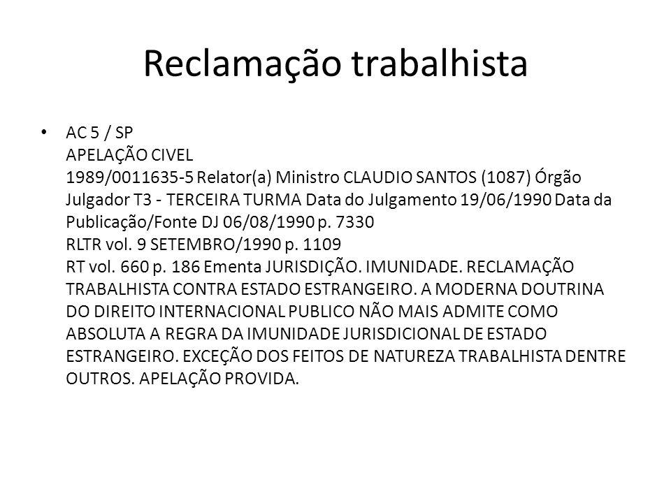 Reclamação trabalhista AC 5 / SP APELAÇÃO CIVEL 1989/0011635-5 Relator(a) Ministro CLAUDIO SANTOS (1087) Órgão Julgador T3 - TERCEIRA TURMA Data do Ju