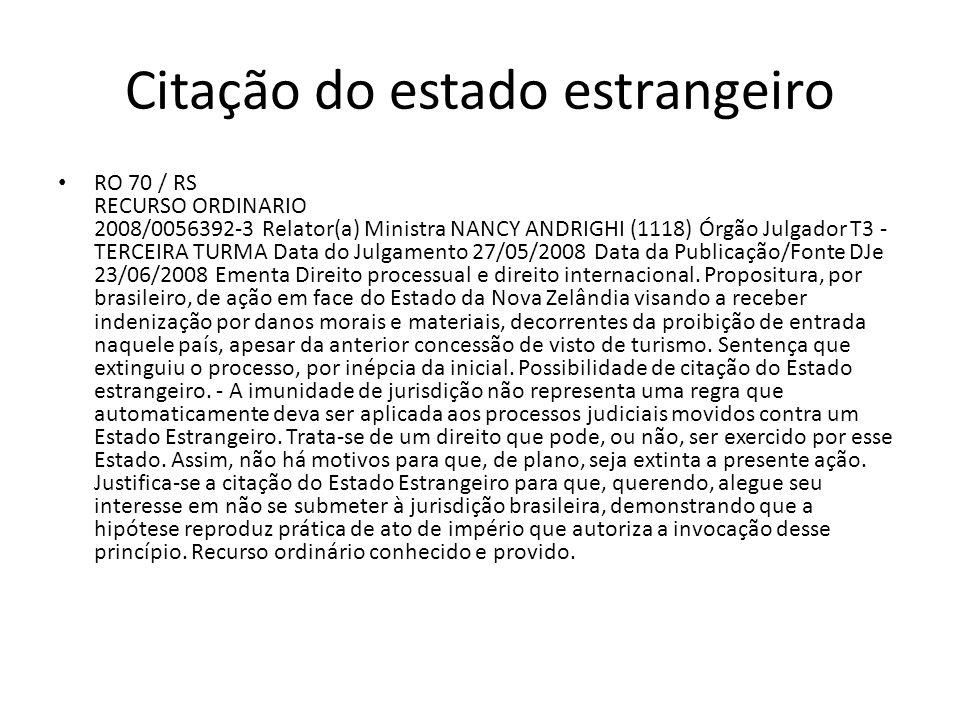 Citação do estado estrangeiro RO 70 / RS RECURSO ORDINARIO 2008/0056392-3 Relator(a) Ministra NANCY ANDRIGHI (1118) Órgão Julgador T3 - TERCEIRA TURMA