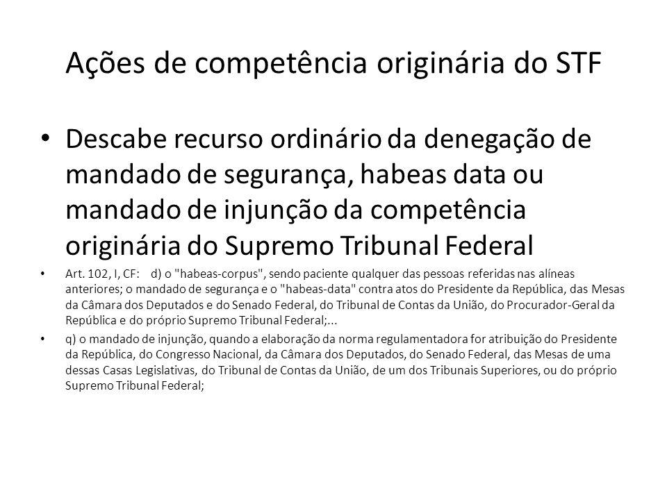 Ações de competência originária do STF Descabe recurso ordinário da denegação de mandado de segurança, habeas data ou mandado de injunção da competênc