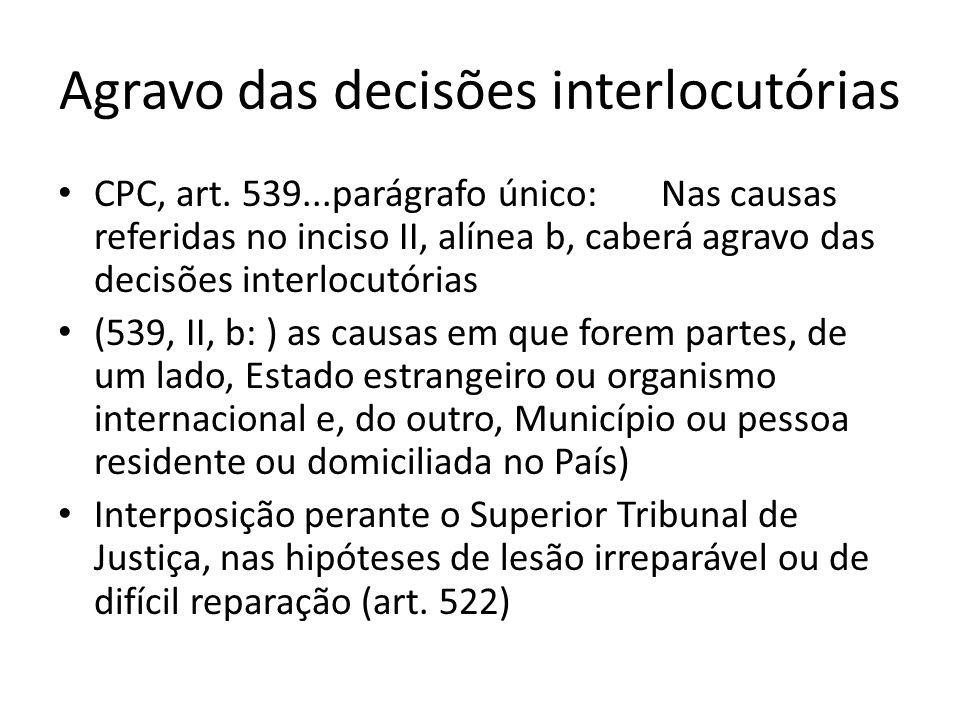 Agravo das decisões interlocutórias CPC, art. 539...parágrafo único: Nas causas referidas no inciso II, alínea b, caberá agravo das decisões interlocu
