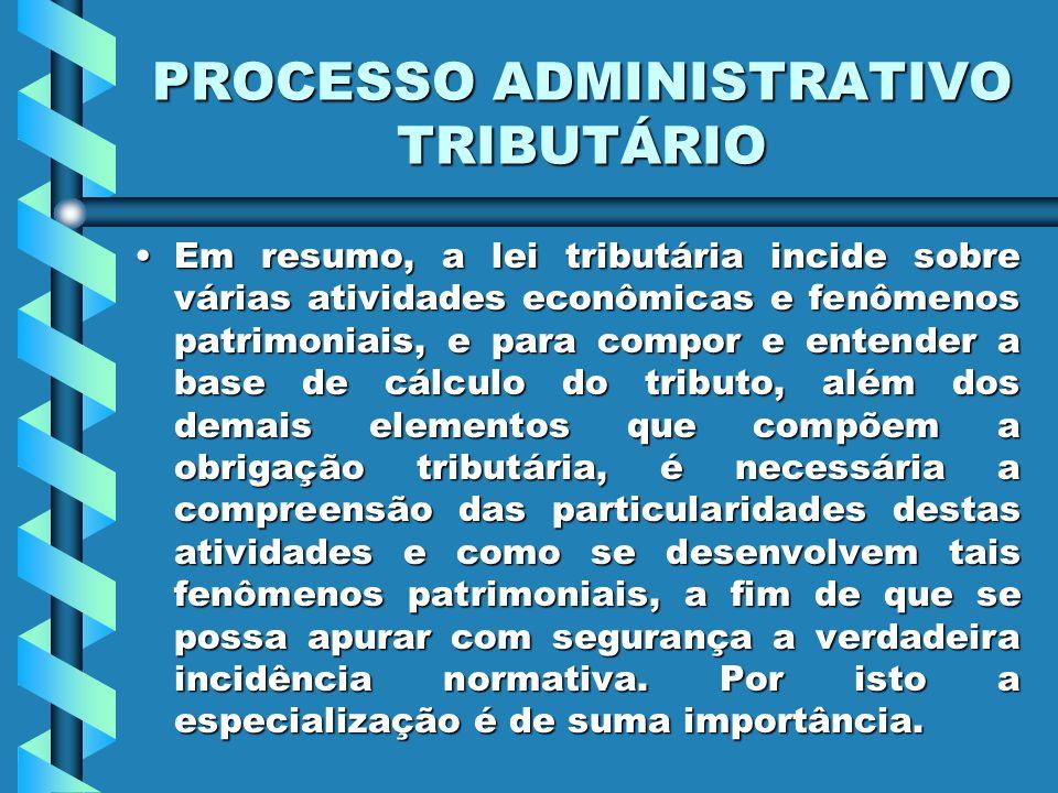 PROCESSO ADMINISTRATIVO TRIBUTÁRIO Em resumo, a lei tributária incide sobre várias atividades econômicas e fenômenos patrimoniais, e para compor e ent