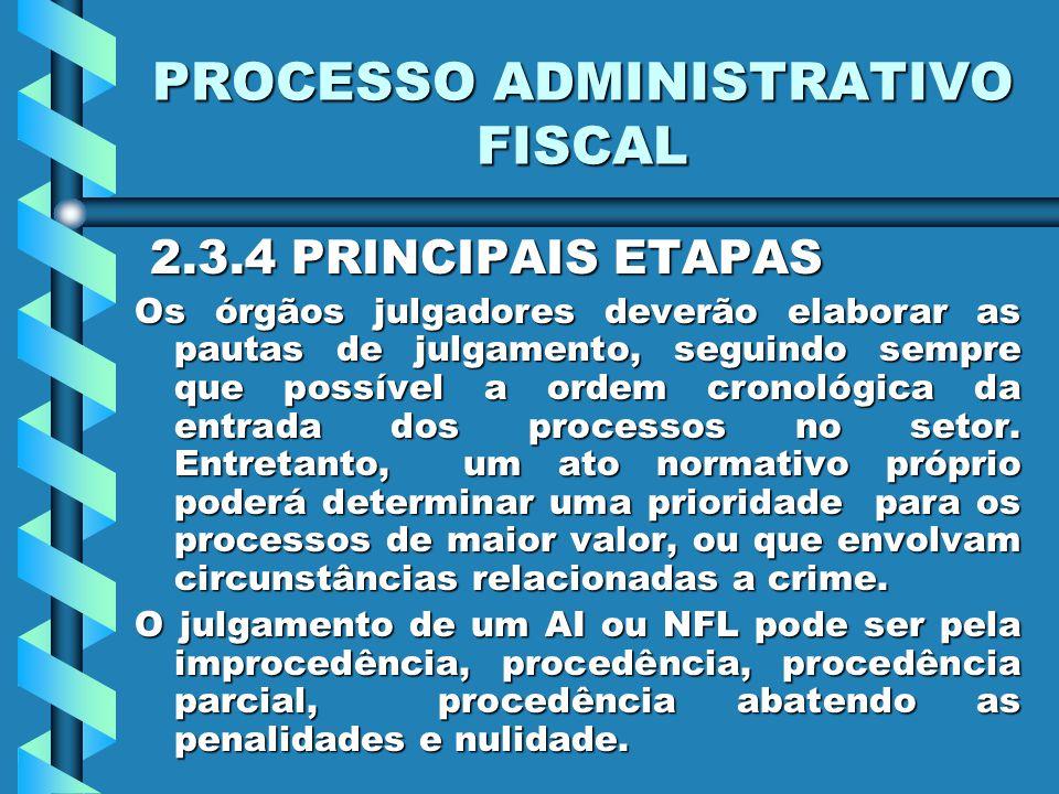 PROCESSO ADMINISTRATIVO FISCAL 2.3.4 PRINCIPAIS ETAPAS 2.3.4 PRINCIPAIS ETAPAS Os órgãos julgadores deverão elaborar as pautas de julgamento, seguindo sempre que possível a ordem cronológica da entrada dos processos no setor.