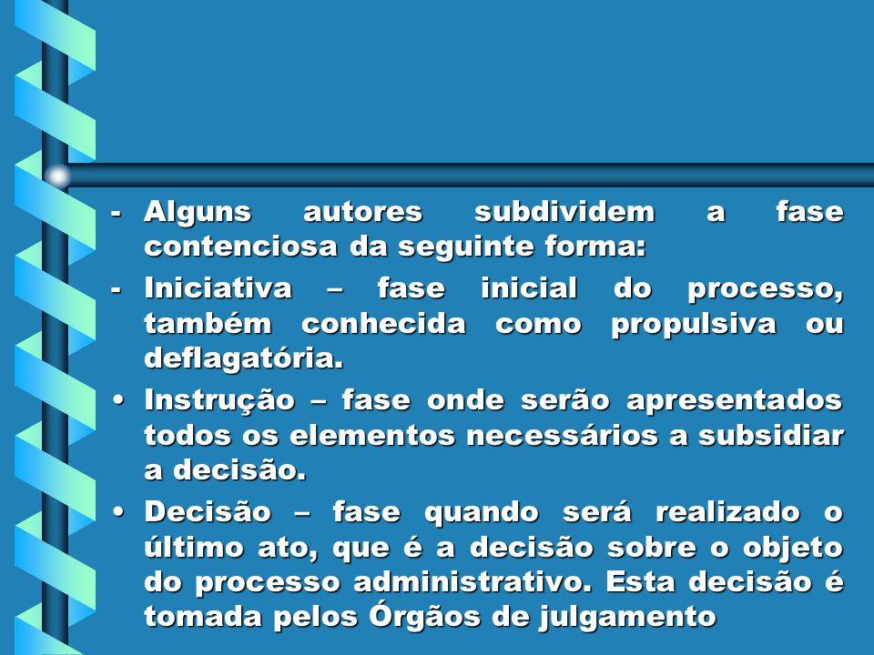 -Alguns autores subdividem a fase contenciosa da seguinte forma: -Iniciativa – fase inicial do processo, também conhecida como propulsiva ou deflagató