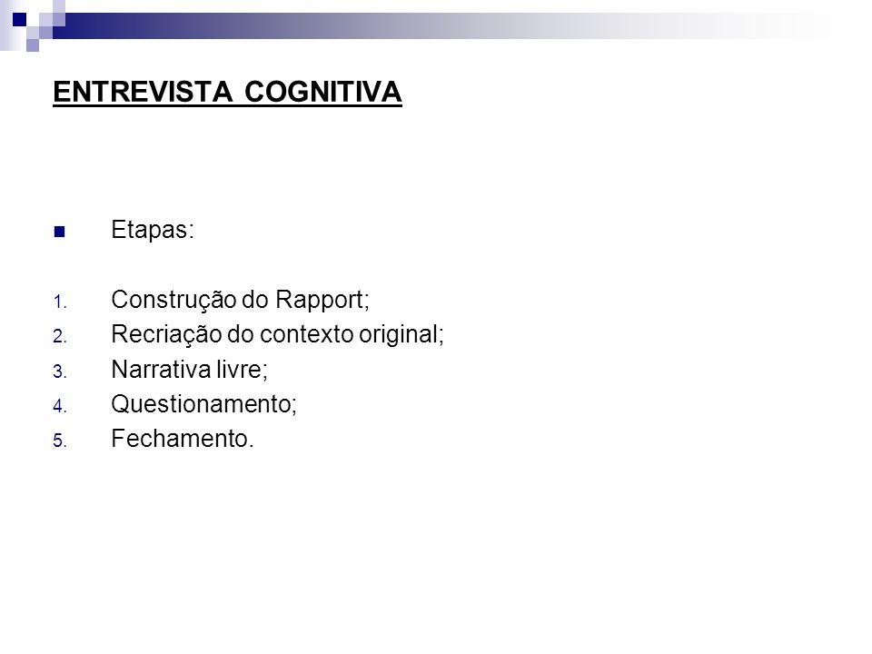 ENTREVISTA COGNITIVA Etapas: 1.Construção do Rapport; 2.