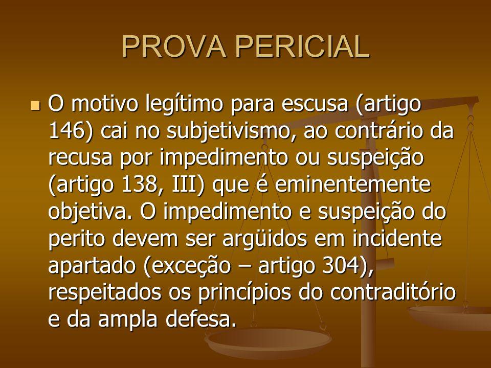 PROVA PERICIAL O motivo legítimo para escusa (artigo 146) cai no subjetivismo, ao contrário da recusa por impedimento ou suspeição (artigo 138, III) q