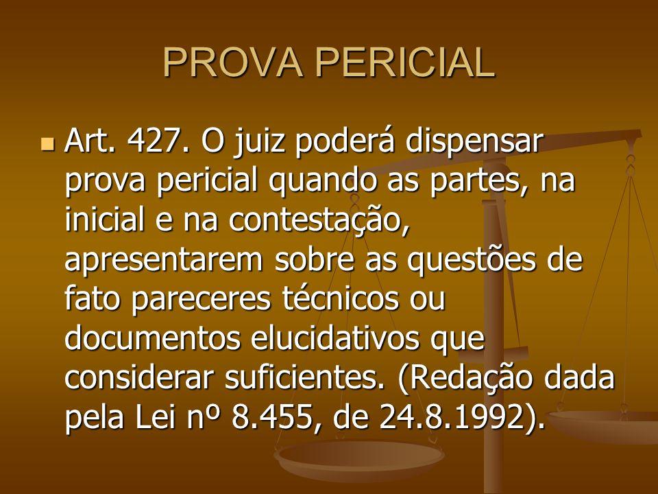 PROVA PERICIAL Art. 427. O juiz poderá dispensar prova pericial quando as partes, na inicial e na contestação, apresentarem sobre as questões de fato