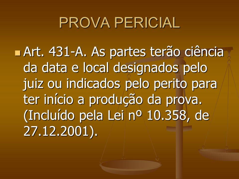 PROVA PERICIAL Art. 431-A. As partes terão ciência da data e local designados pelo juiz ou indicados pelo perito para ter início a produção da prova.