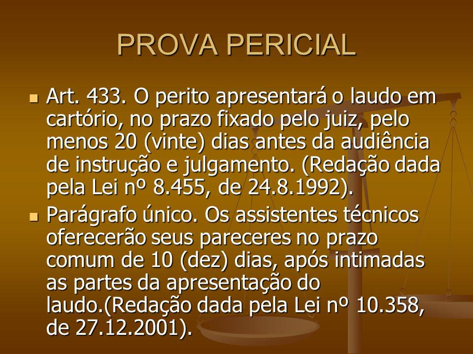 PROVA PERICIAL Art. 433. O perito apresentará o laudo em cartório, no prazo fixado pelo juiz, pelo menos 20 (vinte) dias antes da audiência de instruç