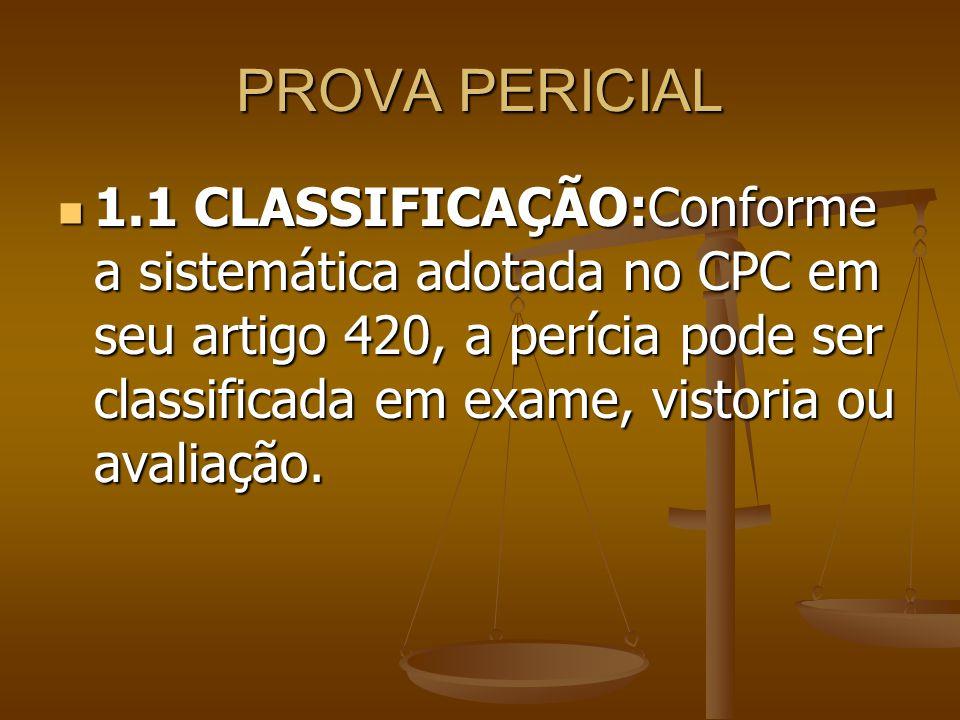 PROVA PERICIAL 1.1 CLASSIFICAÇÃO:Conforme a sistemática adotada no CPC em seu artigo 420, a perícia pode ser classificada em exame, vistoria ou avalia