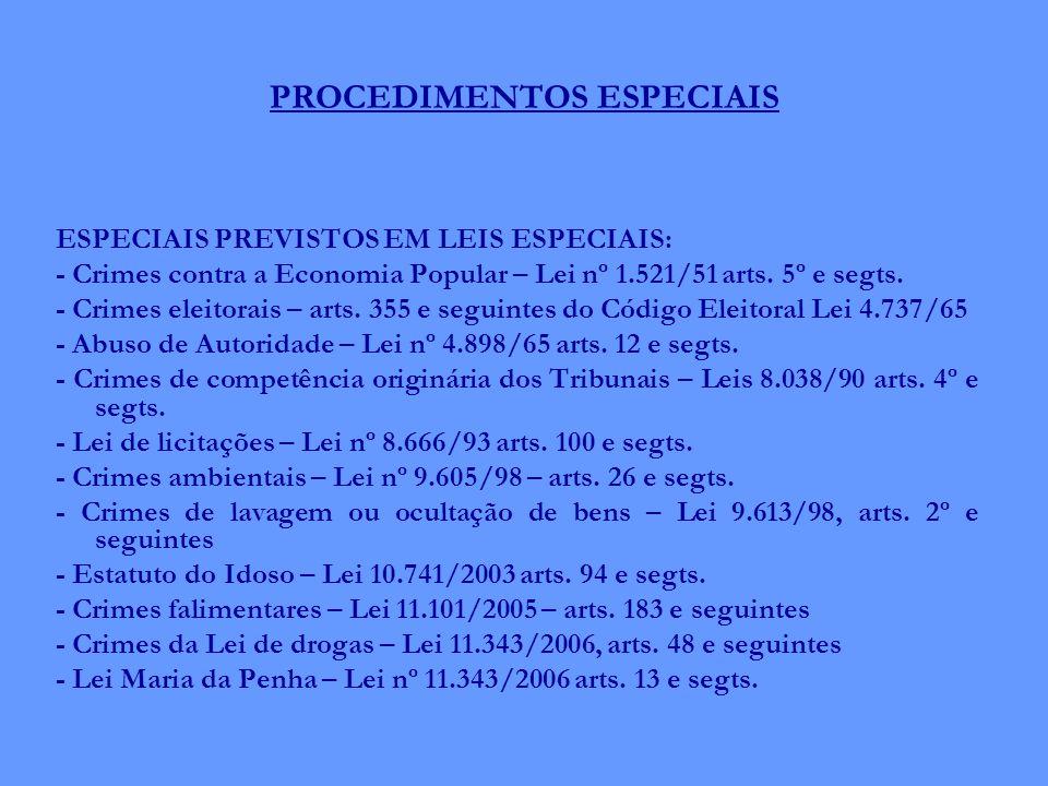 PROCEDIMENTOS ESPECIAIS ESPECIAIS PREVISTOS EM LEIS ESPECIAIS: - Crimes contra a Economia Popular – Lei nº 1.521/51 arts. 5º e segts. - Crimes eleitor
