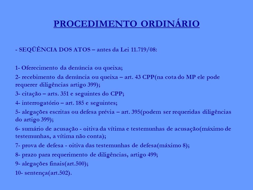 PROCEDIMENTO ORDINÁRIO - SEQÜÊNCIA DOS ATOS – antes da Lei 11.719/08: 1- Oferecimento da denúncia ou queixa; 2- recebimento da denúncia ou queixa – ar