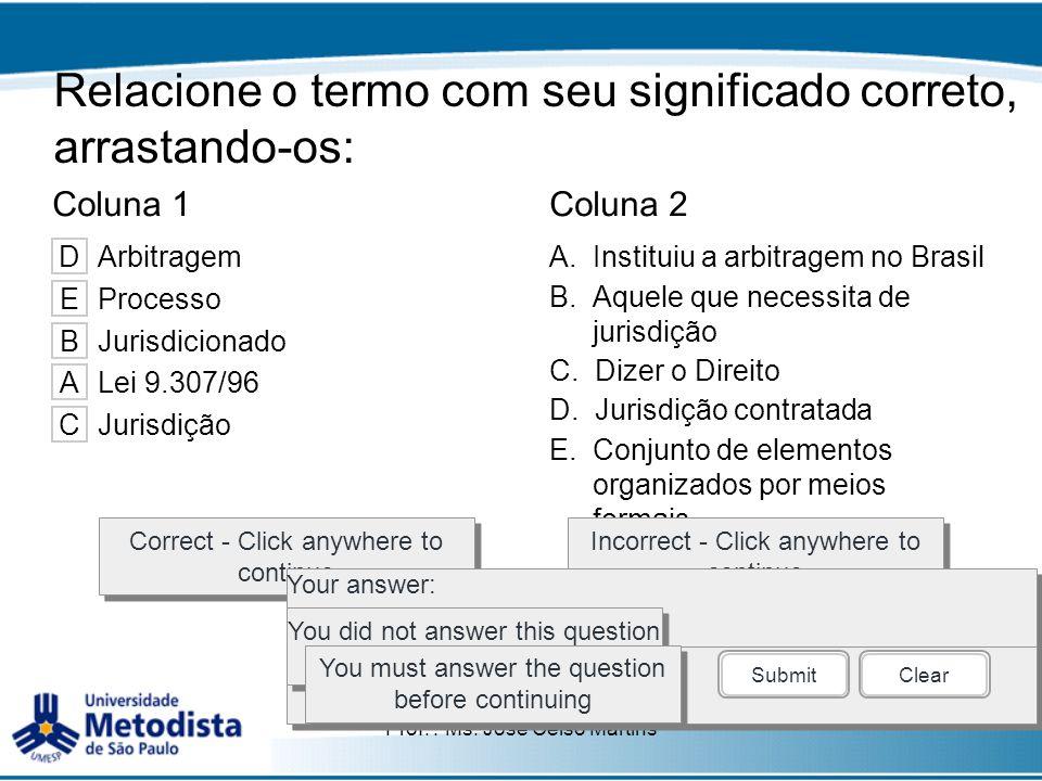 Prof. : Ms. José Celso Martins Relacione o termo com seu significado correto, arrastando-os: Coluna 1Coluna 2 A.Instituiu a arbitragem no Brasil B.Aqu