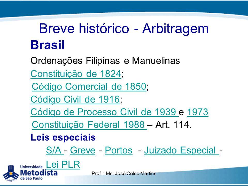 Prof. : Ms. José Celso Martins Breve histórico - Arbitragem Brasil Ordenações Filipinas e Manuelinas Constituição de 18241824; Código Comercial de 185