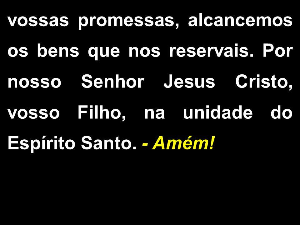 vossas promessas, alcancemos os bens que nos reservais. Por nosso Senhor Jesus Cristo, vosso Filho, na unidade do Espírito Santo. - Amém!