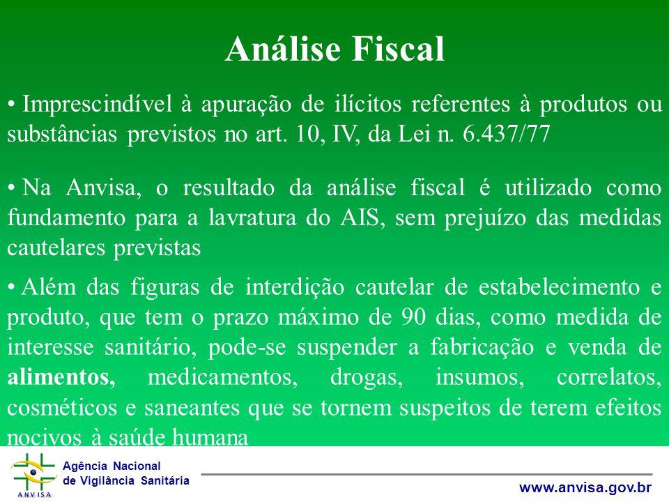 Agência Nacional de Vigilância Sanitária www.anvisa.gov.br Análise Fiscal Imprescindível à apuração de ilícitos referentes à produtos ou substâncias previstos no art.