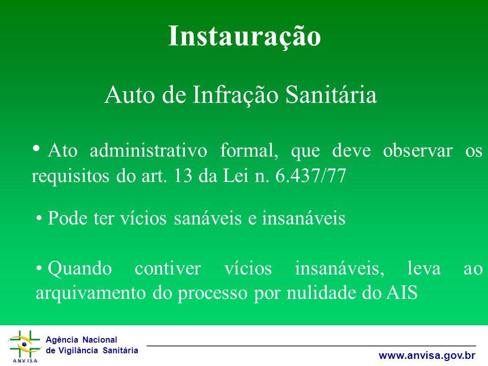 Agência Nacional de Vigilância Sanitária www.anvisa.gov.br Instauração Auto de Infração Sanitária Ato administrativo formal, que deve observar os requisitos do art.