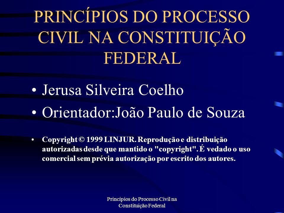Princípios do Processo Civil na Constituição Federal PRINCÍPIOS DO PROCESSO CIVIL NA CONSTITUIÇÃO FEDERAL Jerusa Silveira Coelho Orientador:João Paulo