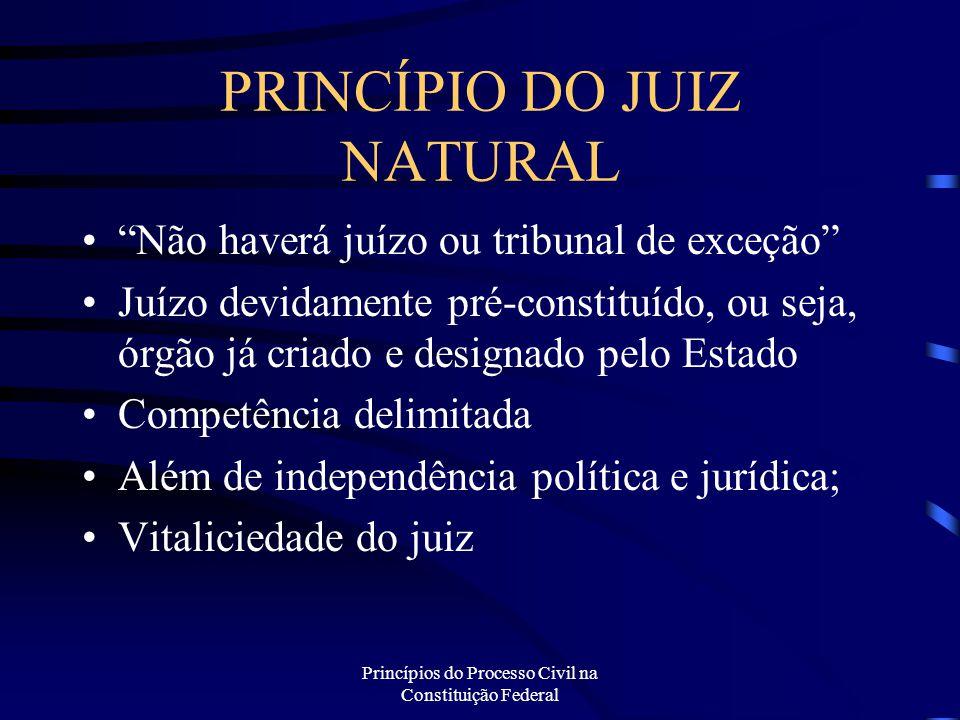 """Princípios do Processo Civil na Constituição Federal PRINCÍPIO DO JUIZ NATURAL """"Não haverá juízo ou tribunal de exceção"""" Juízo devidamente pré-constit"""