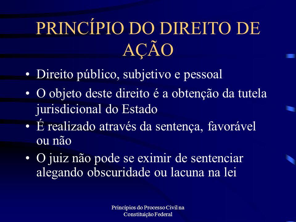 Princípios do Processo Civil na Constituição Federal PRINCÍPIO DO DIREITO DE AÇÃO Direito público, subjetivo e pessoal O objeto deste direito é a obte