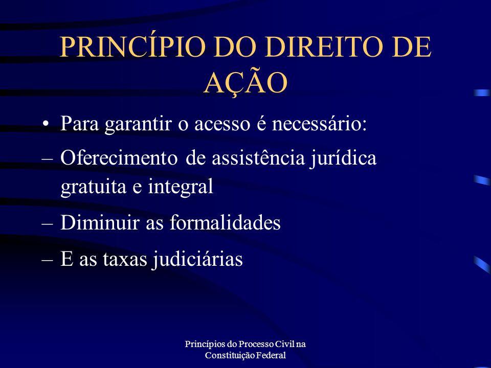 Princípios do Processo Civil na Constituição Federal PRINCÍPIO DO DIREITO DE AÇÃO Para garantir o acesso é necessário: –Oferecimento de assistência ju