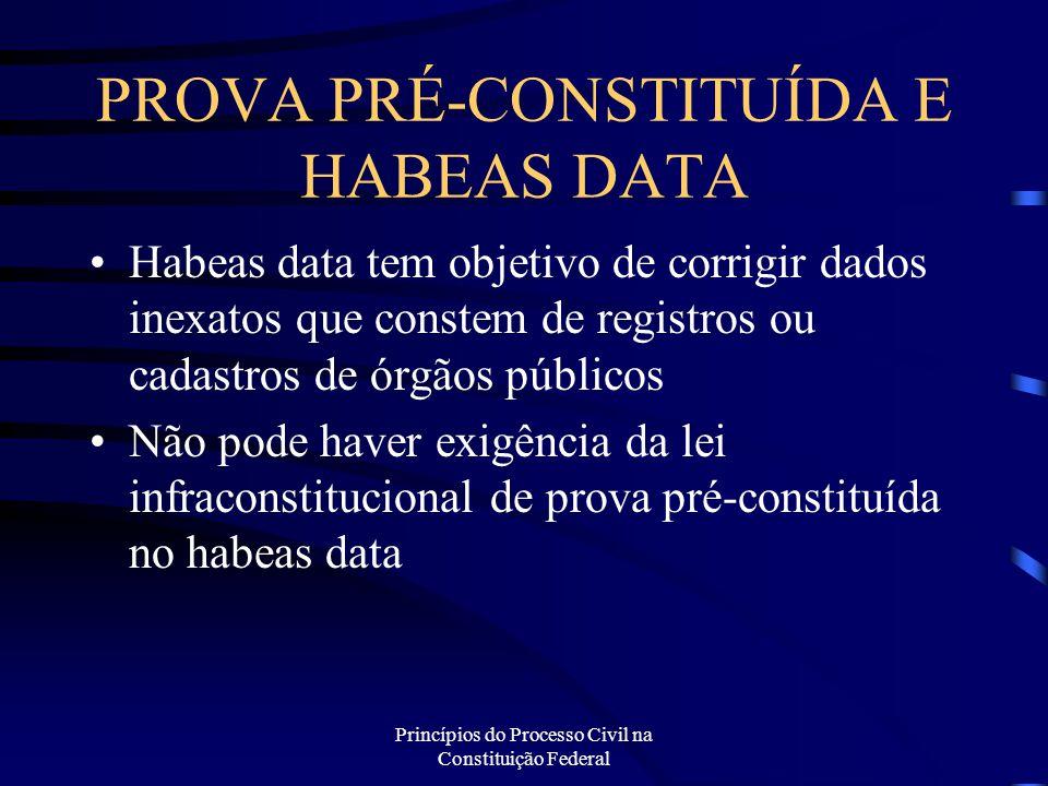 Princípios do Processo Civil na Constituição Federal PROVA PRÉ-CONSTITUÍDA E HABEAS DATA Habeas data tem objetivo de corrigir dados inexatos que const