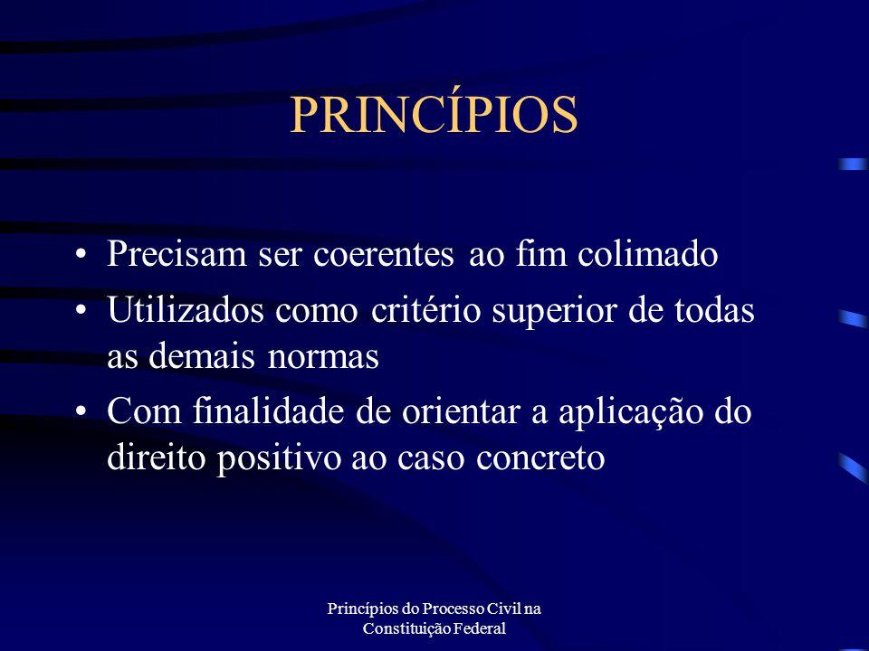 Princípios do Processo Civil na Constituição Federal PRINCÍPIOS Precisam ser coerentes ao fim colimado Utilizados como critério superior de todas as d