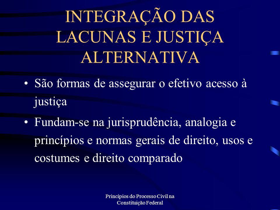Princípios do Processo Civil na Constituição Federal INTEGRAÇÃO DAS LACUNAS E JUSTIÇA ALTERNATIVA São formas de assegurar o efetivo acesso à justiça F