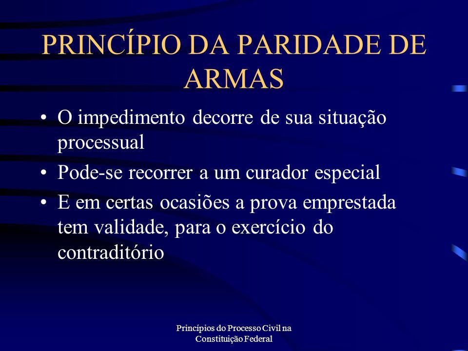 Princípios do Processo Civil na Constituição Federal PRINCÍPIO DA PARIDADE DE ARMAS O impedimento decorre de sua situação processual Pode-se recorrer