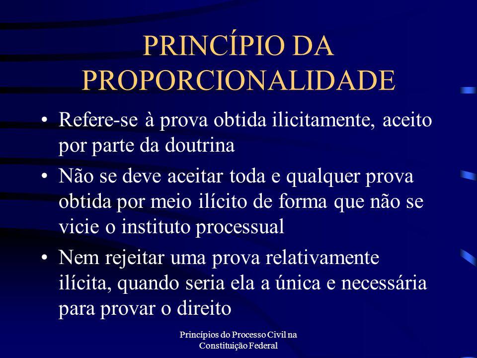 Princípios do Processo Civil na Constituição Federal PRINCÍPIO DA PROPORCIONALIDADE Refere-se à prova obtida ilicitamente, aceito por parte da doutrin