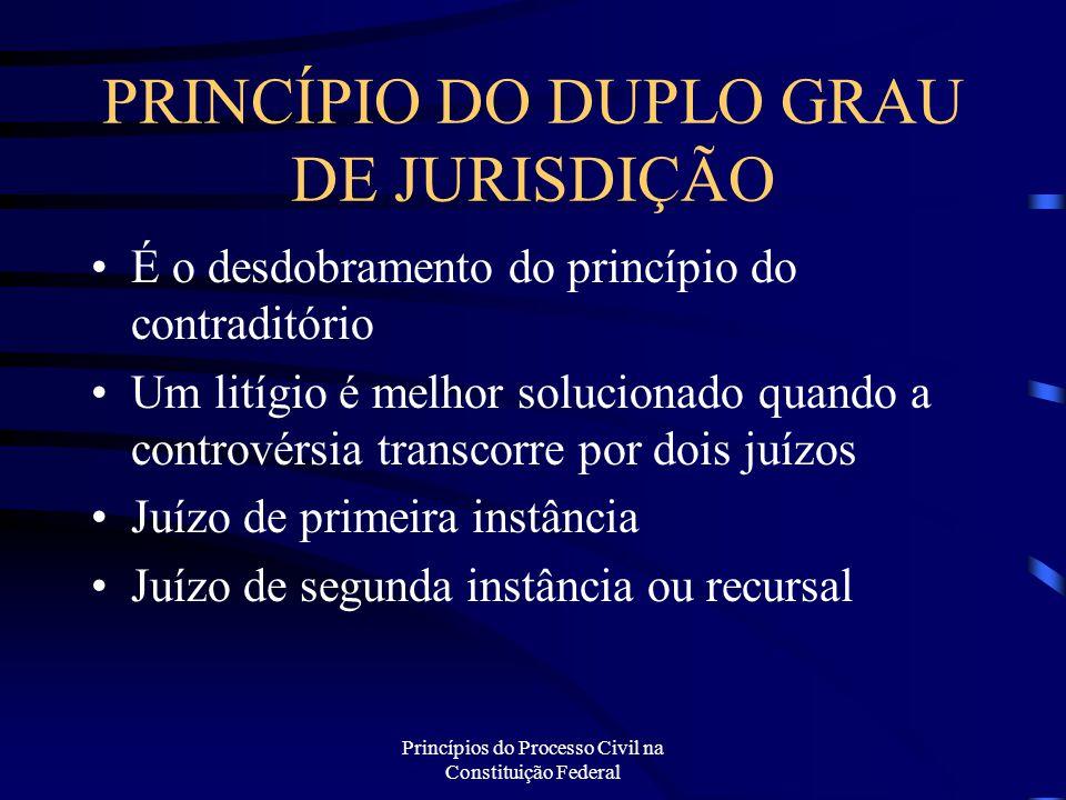 Princípios do Processo Civil na Constituição Federal PRINCÍPIO DO DUPLO GRAU DE JURISDIÇÃO É o desdobramento do princípio do contraditório Um litígio