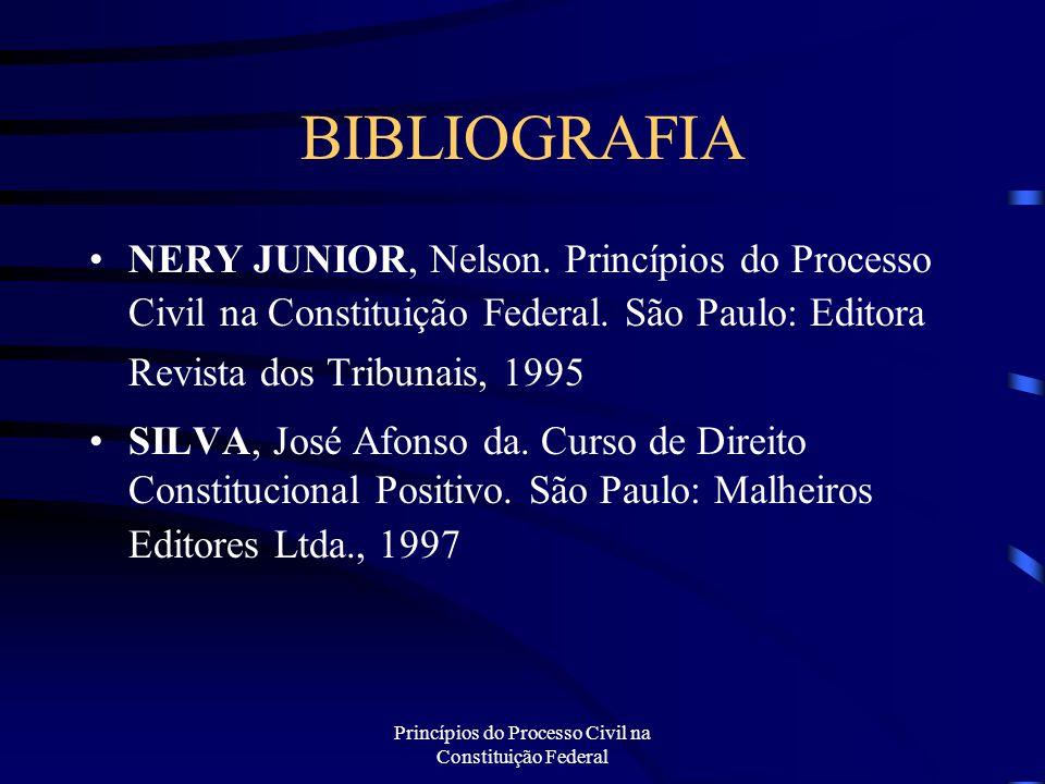 Princípios do Processo Civil na Constituição Federal BIBLIOGRAFIA NERY JUNIOR, Nelson. Princípios do Processo Civil na Constituição Federal. São Paulo