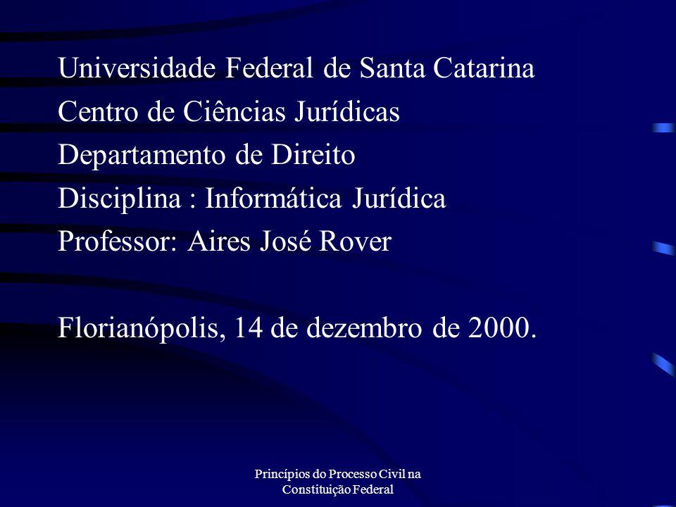 Princípios do Processo Civil na Constituição Federal Universidade Federal de Santa Catarina Centro de Ciências Jurídicas Departamento de Direito Disci
