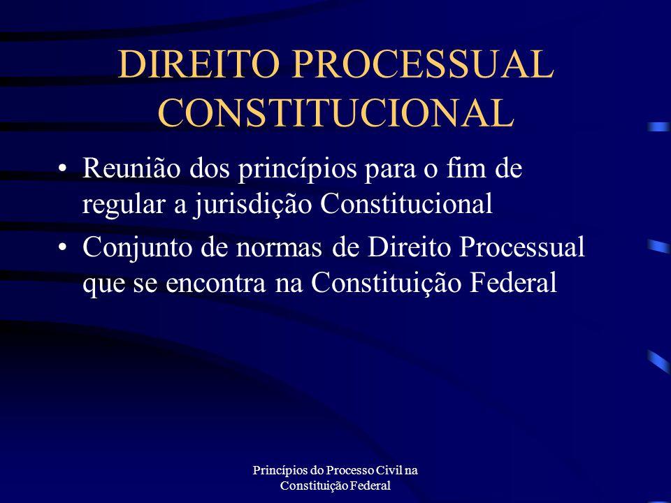 Princípios do Processo Civil na Constituição Federal DIREITO PROCESSUAL CONSTITUCIONAL Reunião dos princípios para o fim de regular a jurisdição Const