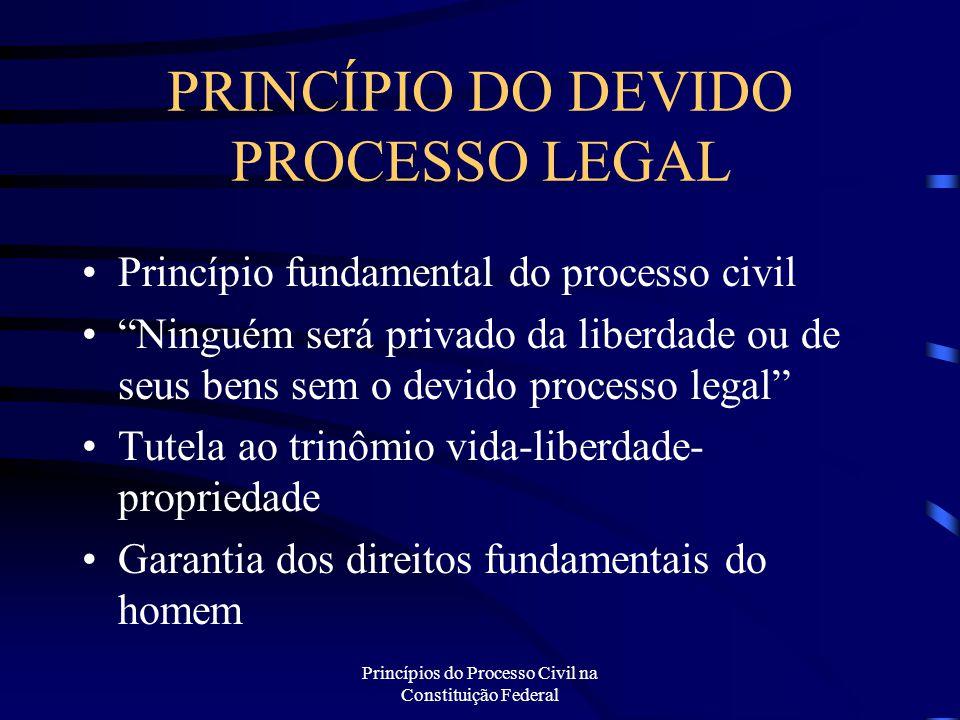 """Princípios do Processo Civil na Constituição Federal PRINCÍPIO DO DEVIDO PROCESSO LEGAL Princípio fundamental do processo civil """"Ninguém será privado"""