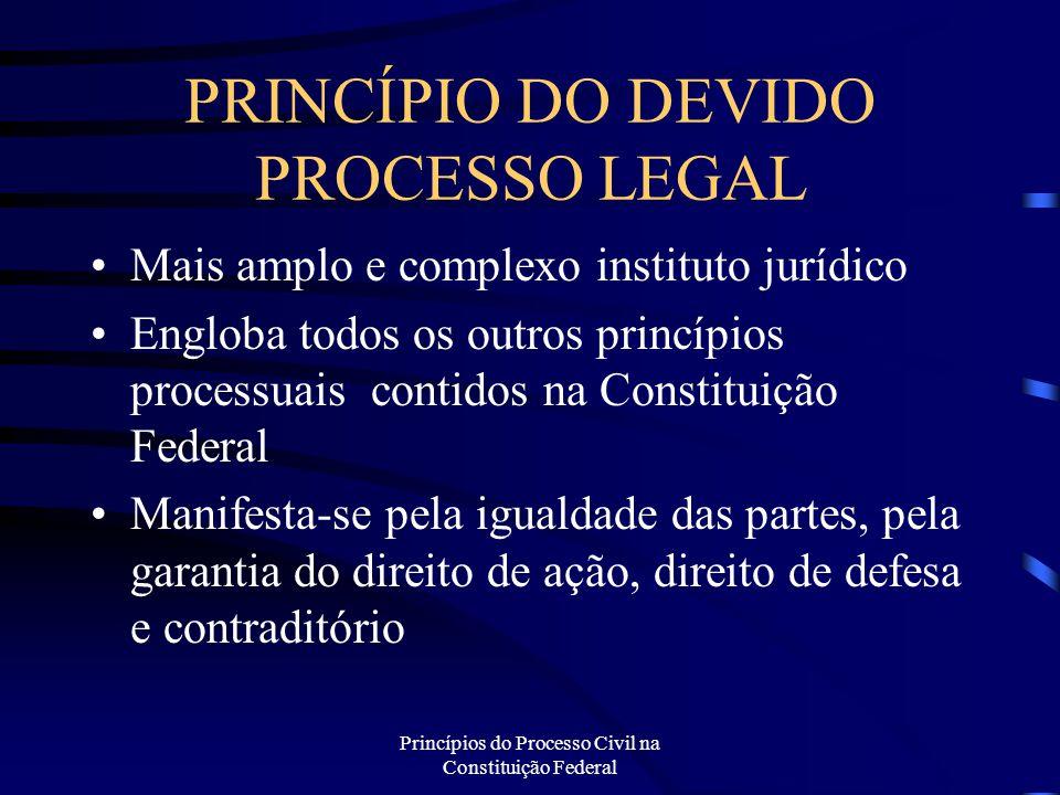Princípios do Processo Civil na Constituição Federal PRINCÍPIO DA ISONOMIA Todos são iguais perante a lei Proteção da igualdade substancial; Isonomia não formal Tratar igualmente os iguais e desigualmente os desiguais, na exata medida de suas desigualdades