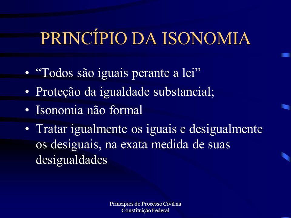 """Princípios do Processo Civil na Constituição Federal PRINCÍPIO DA ISONOMIA """"Todos são iguais perante a lei"""" Proteção da igualdade substancial; Isonomi"""