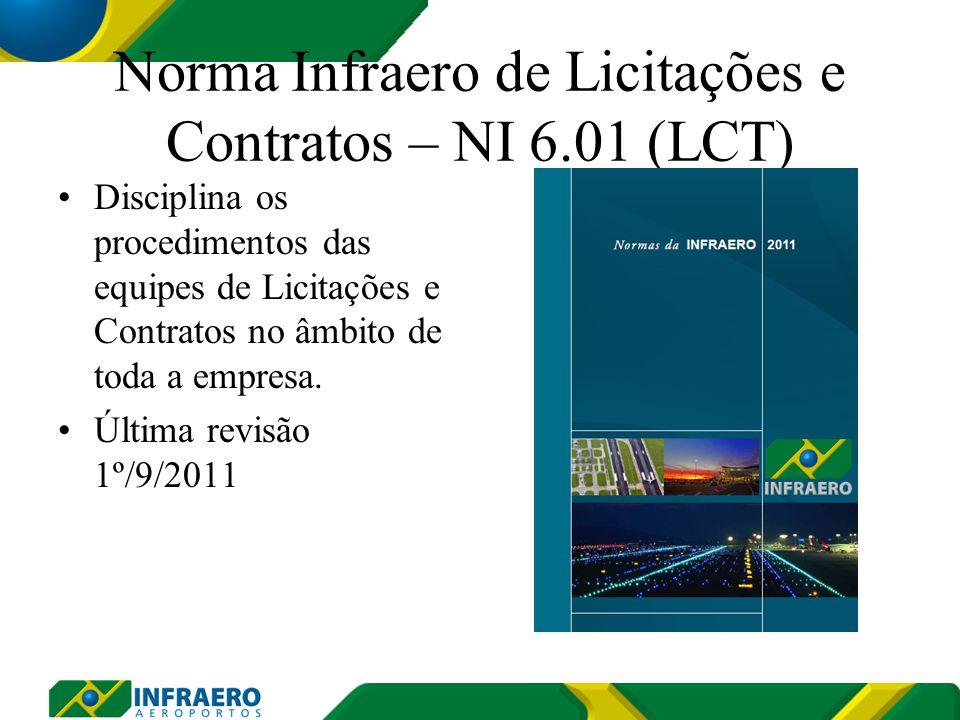Norma Infraero de Licitações e Contratos – NI 6.01 (LCT) Disciplina os procedimentos das equipes de Licitações e Contratos no âmbito de toda a empresa.