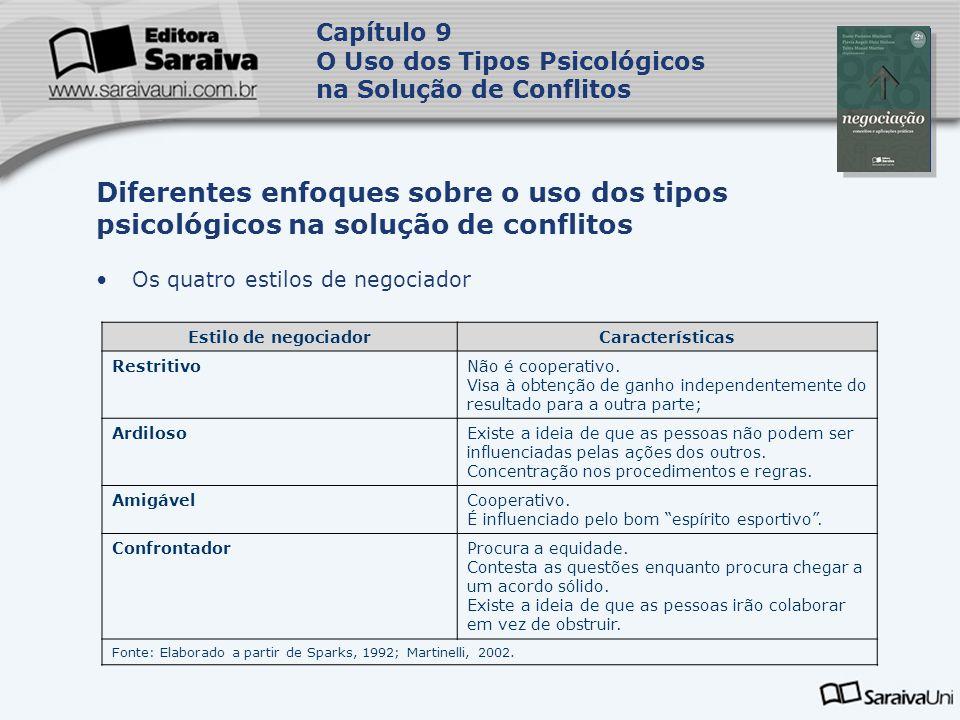 Capa da Obra Capítulo 9 O Uso dos Tipos Psicológicos na Solução de Conflitos Os quatro estilos de negociador Diferentes enfoques sobre o uso dos tipos