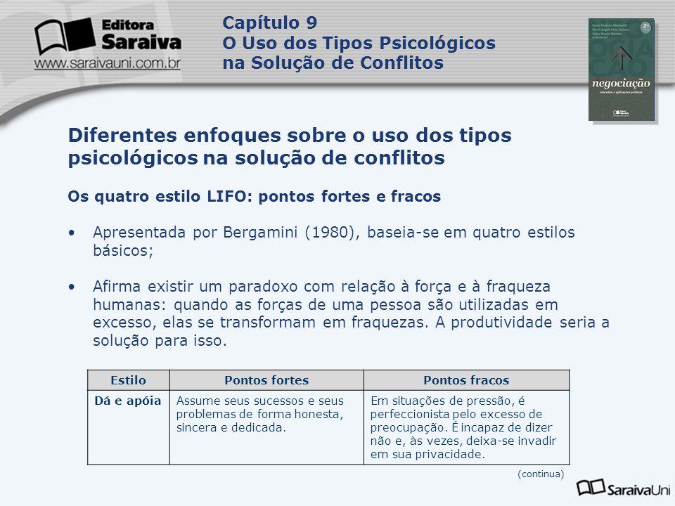 Capa da Obra Capítulo 9 O Uso dos Tipos Psicológicos na Solução de Conflitos Os quatro estilo LIFO: pontos fortes e fracos Apresentada por Bergamini (
