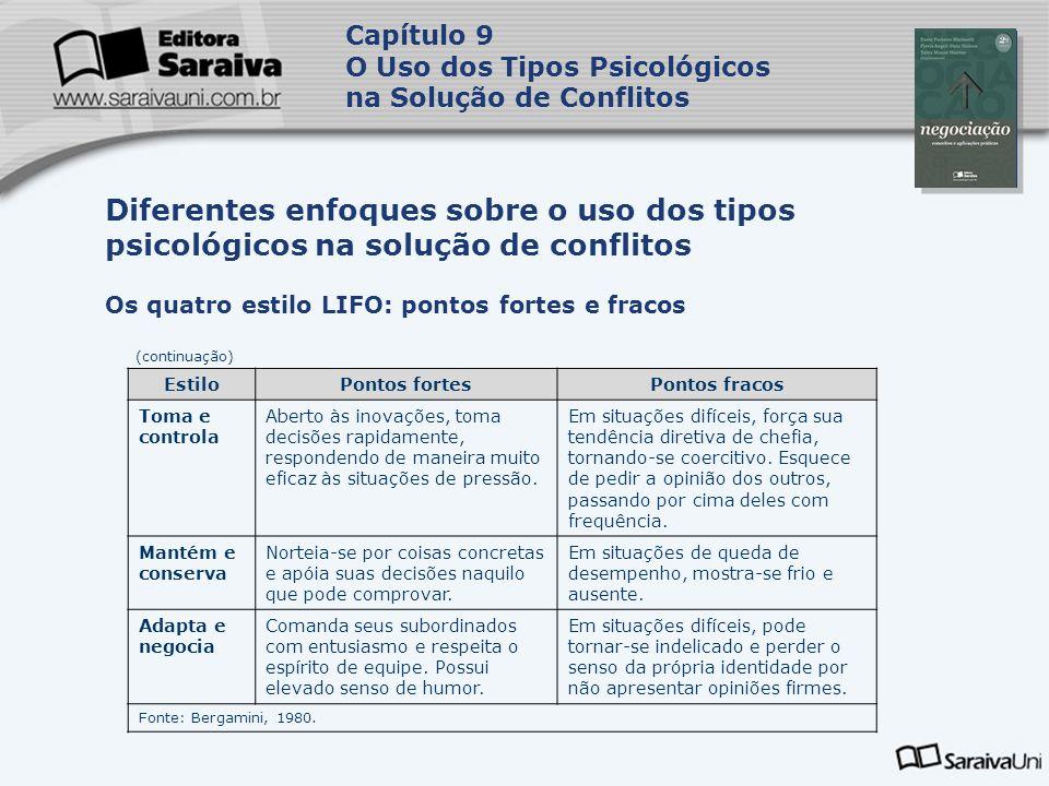 Capa da Obra Capítulo 9 O Uso dos Tipos Psicológicos na Solução de Conflitos Os quatro estilo LIFO: pontos fortes e fracos Diferentes enfoques sobre o