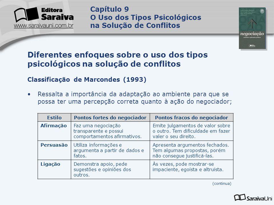 Capa da Obra Capítulo 9 O Uso dos Tipos Psicológicos na Solução de Conflitos Classificação de Marcondes (1993) Ressalta a importância da adaptação ao