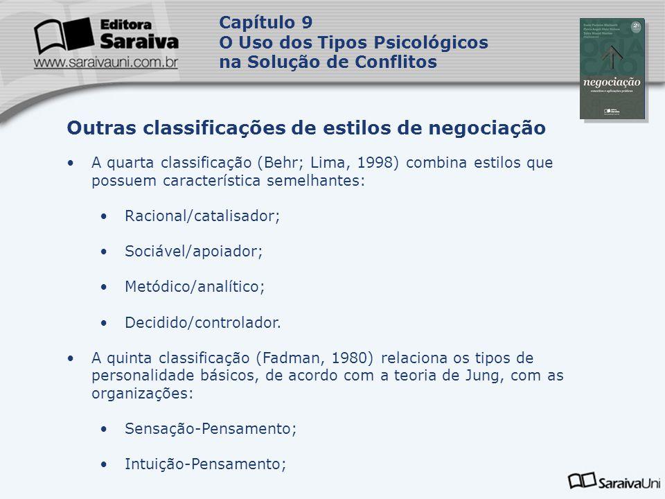 Capa da Obra Capítulo 9 O Uso dos Tipos Psicológicos na Solução de Conflitos A quarta classificação (Behr; Lima, 1998) combina estilos que possuem car