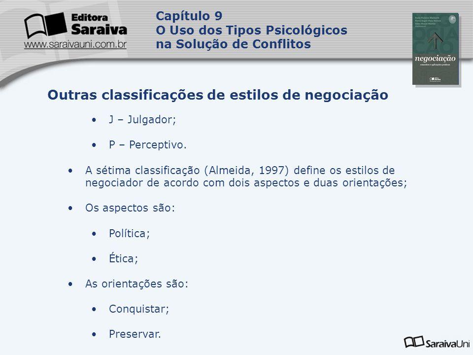 Capa da Obra Capítulo 9 O Uso dos Tipos Psicológicos na Solução de Conflitos J – Julgador; P – Perceptivo. A sétima classificação (Almeida, 1997) defi