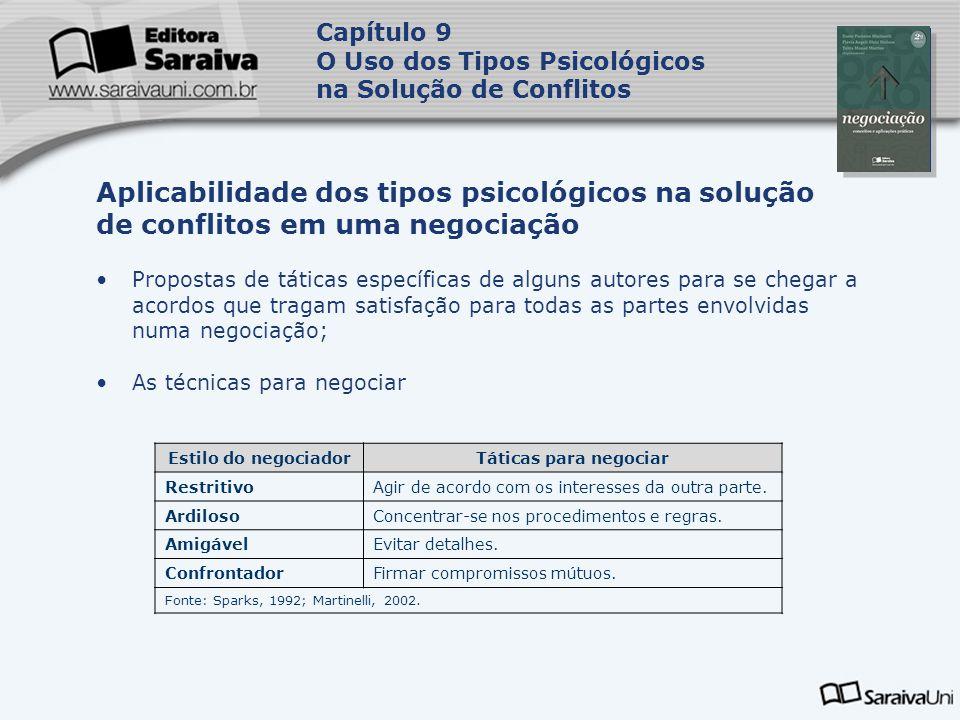 Capa da Obra Capítulo 9 O Uso dos Tipos Psicológicos na Solução de Conflitos Propostas de táticas específicas de alguns autores para se chegar a acord
