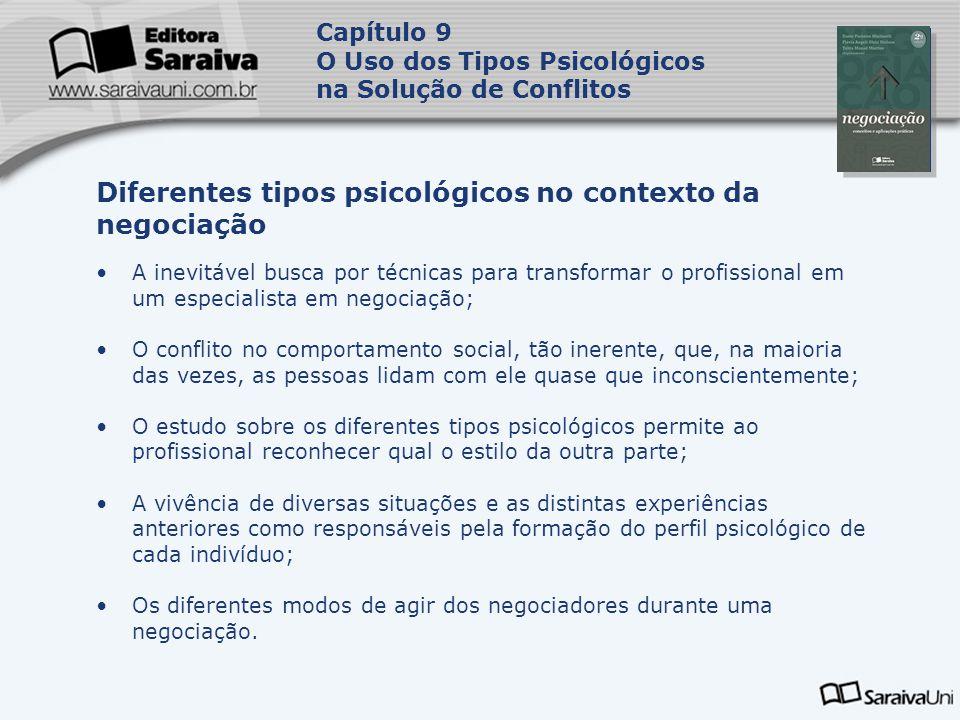 Capa da Obra Capítulo 9 O Uso dos Tipos Psicológicos na Solução de Conflitos A inevitável busca por técnicas para transformar o profissional em um esp
