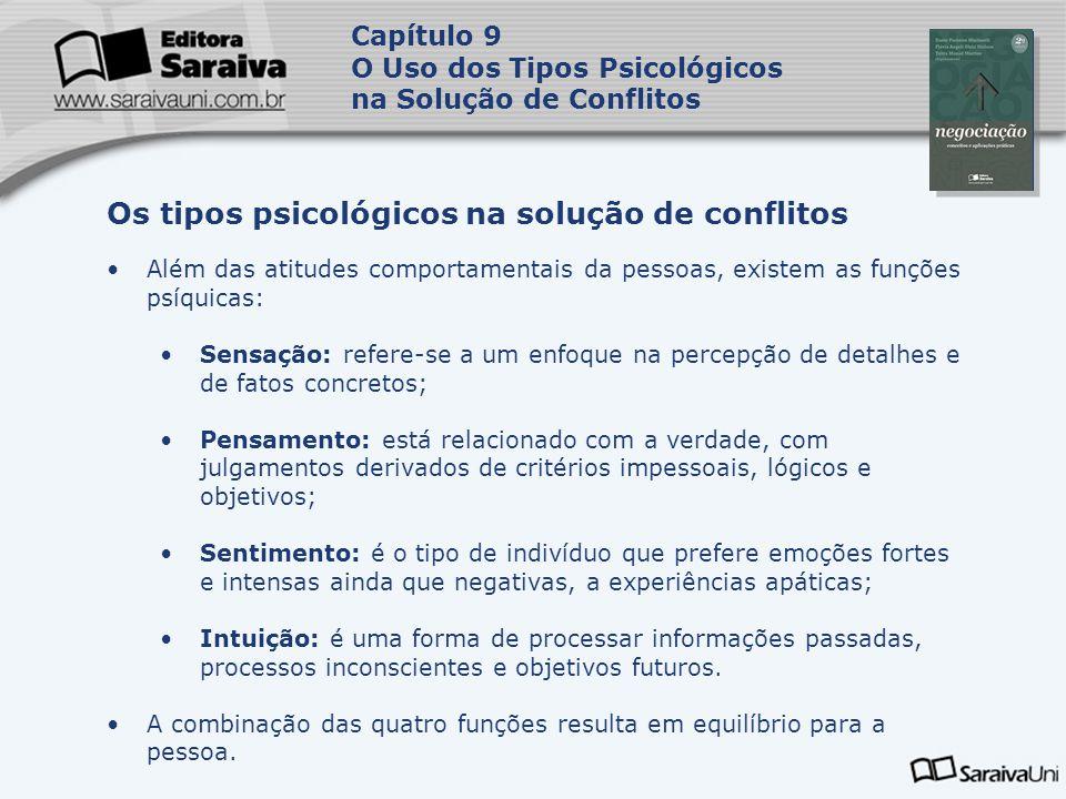 Capa da Obra Capítulo 9 O Uso dos Tipos Psicológicos na Solução de Conflitos Além das atitudes comportamentais da pessoas, existem as funções psíquica