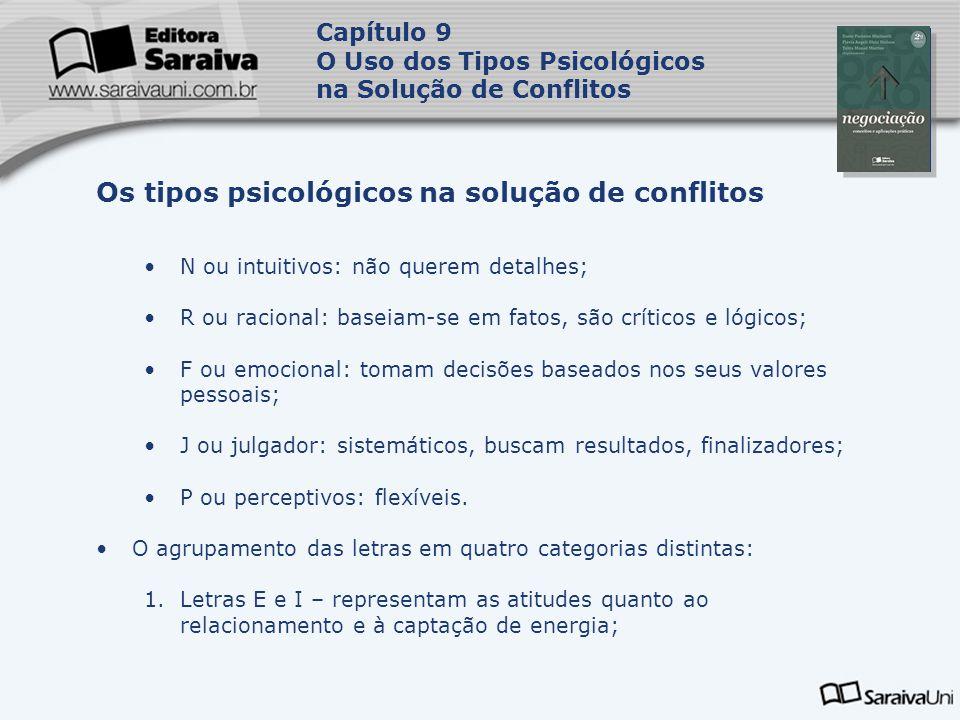 Capa da Obra Capítulo 9 O Uso dos Tipos Psicológicos na Solução de Conflitos N ou intuitivos: não querem detalhes; R ou racional: baseiam-se em fatos,